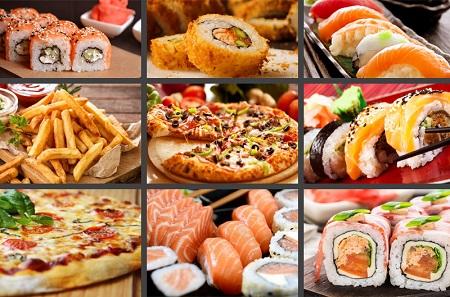 Доставка еды, роллов и пиццы фото